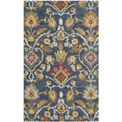 Elford Hand-Tufted Wool Blue/Red/Green Area Rug Rug Size: Rectangle 6 x 9