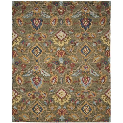 Elford Hand-Tufted Wool Green Area Rug Rug Size: Rectangle 89 x 12