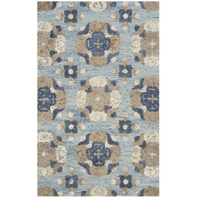 Mudoch Hand-Tufted Wool Blue Area Rug Rug Size: Round 6