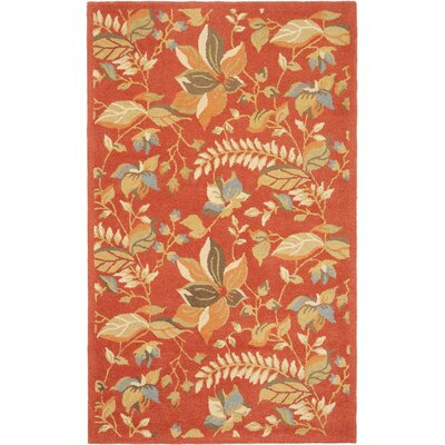 Donoghue Hand-Hooked Wool Rust Area Rug Rug Size: Rectangle 5 x 76