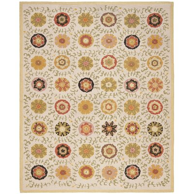 Ross Hand-Hooked Wool Ivory Area Rug