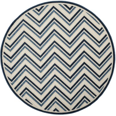 Schaefer Cream/Blue Indoor/Outdoor Area Rug Rug Size: Round 67