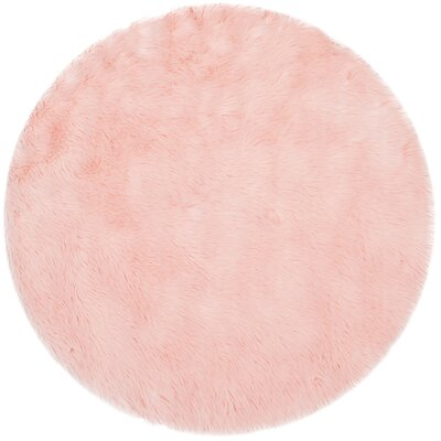 Anthony  Fur Pink Area Rug Rug Size: Round 5