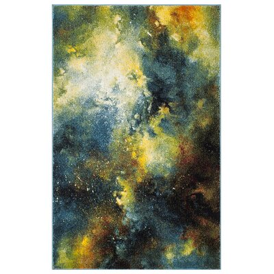 Emerson Blue/Yellow Area Rug Rug Size: 4 x 6