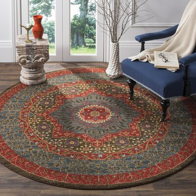 Freetown Red Area Rug Rug Size: Round 51