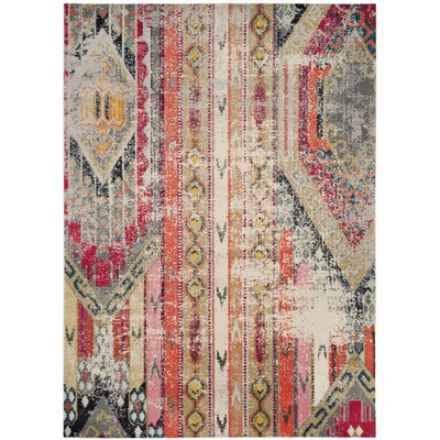 Chana Gray/Red/Beige Area Rug Rug Size: 12 x 18