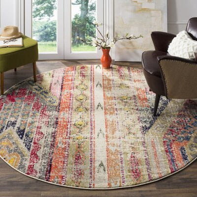 Elston Abstract Multicolor Area Rug Rug Size: Round 9'
