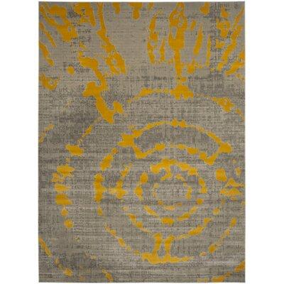 Chaima Light Gray/Yellow Area Rug Rug Size: Rectangle 9 x 12