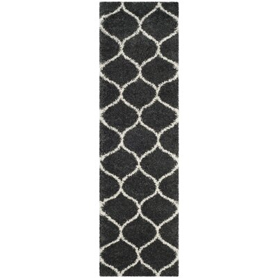 Hampstead Shag Dark Gray/Ivory Area Rug Rug Size: Runner 23 x 10