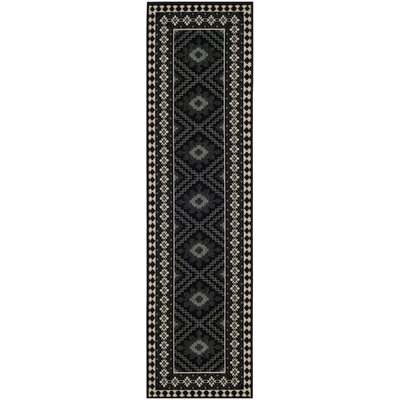 Tillis Black Outdoor Area Rug Rug Size: 23 x 8