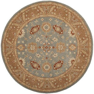 Dunbar Hand-Tufted Wool Blue Area Rug Rug Size: Round 6