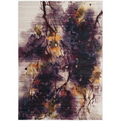 Lansing Ivory/Purple Area Rug Rug Size: Round 6