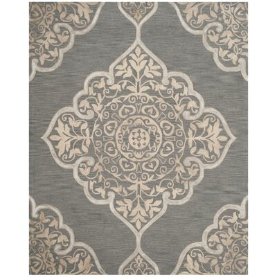Brennan Hand-Tufted Wool Slate Area Rug Rug Size: Round 7
