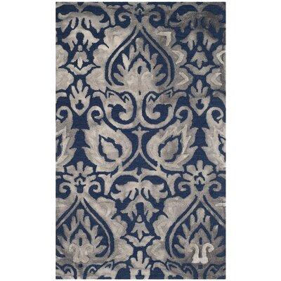 Brennan Hand-Tufted Wool Navy Area Rug Rug Size: 5 x 8