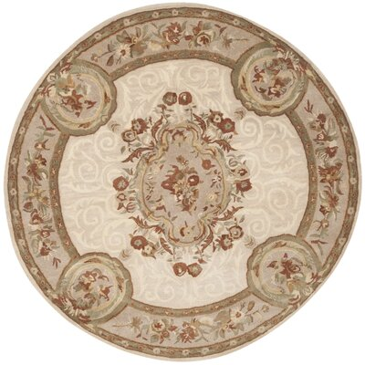 Atlasburg Hand-Tufted Wool Ivory Area Rug Size: Round 6