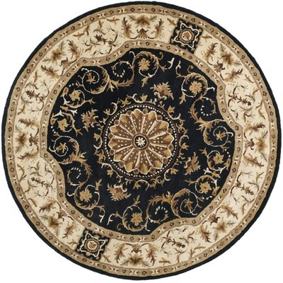 Atlasburg Hand-Tufted Wool Black Area Rug Size: Round 4