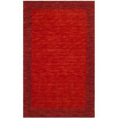 Jarvis Hand-Loomed Wool Red Area Rug Rug Size: 5 x 8