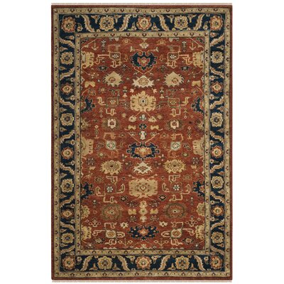 Larkson Hand-Knotted Rust Area Rug Rug Size: Rectangle 6 x 9