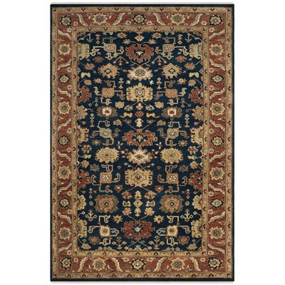 Larkson Hand-Knotted Navy Area Rug Rug Size: Rectangle 9 x 12