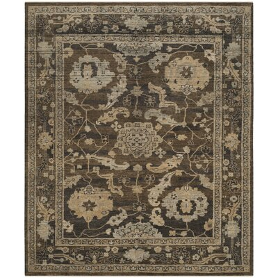 Kline Hand-Knotted Wool Charcoal Area Rug Rug Size: Rectangle 6 x 9