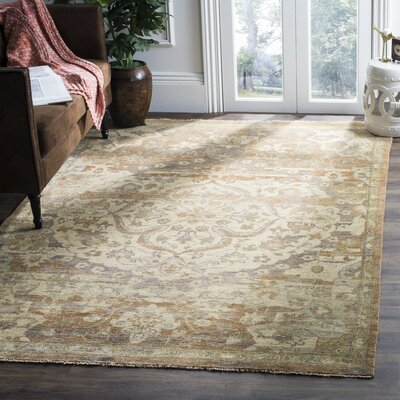 Kline Oriental Hand-Knotted Wool Gold Area Rug Rug Size: Rectangle 9 x 12