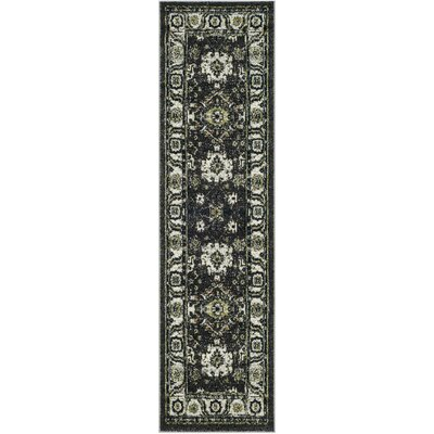 Logan Hamadan Dark Gray Area Rug Rug Size: Runner 28 x 8