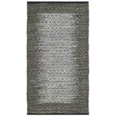 Logan Leather Hand-Woven Light Gray Area Rug Rug Size: 8 x 10