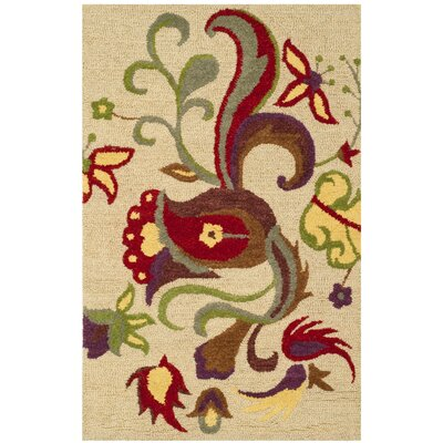 Rachel Hand-Hooked Wool Beige Area Rug Rug Size: 5 x 8