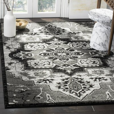 Logan Hamadan Light Gray Area Rug Rug Size: Rectangle 53 x 76