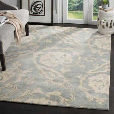 Franklinville Hand-Tufted Wool Light Blue Area Rug Rug Size: 5 x 8