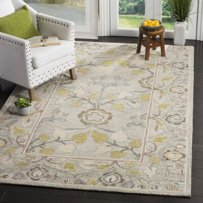 Franklinville Hand-Tufted Wool Light Gray Area Rug Rug Size: Rectangle 5 x 8