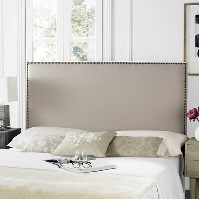 Farringdon Upholstered Wingback Headboard Size: Queen, Color: Taupe, Upholstery: Linen