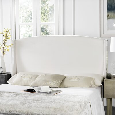 Hattiesburg Upholstered Wingback Headboard Size: Full, Color: White, Upholstery: Polyester/Polyester Blend