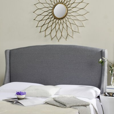Hattiesburg Upholstered Wingback Headboard Size: Full, Color: Gray, Upholstery: Linen