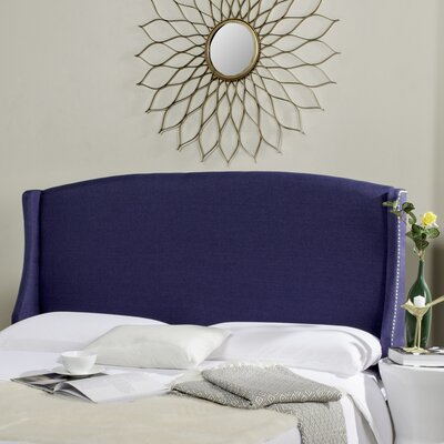 Hattiesburg Upholstered Wingback Headboard Size: Queen, Color: Navy, Upholstery: Linen