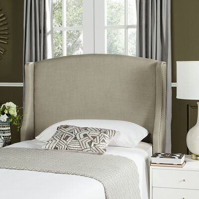 Hattiesburg Upholstered Wingback Headboard Size: Queen, Color: Beige, Upholstery: Polyester/Polyester Blend