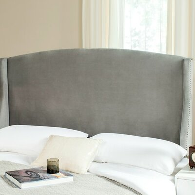 Hattiesburg Upholstered Wingback Headboard Size: Queen, Color: Pewter, Upholstery: Polyester/Polyester Blend