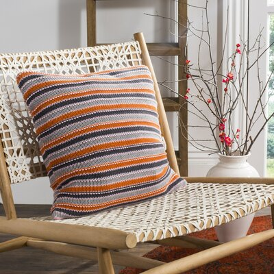 Canizales Stripe Knit 100% Cotton Throw Pillow