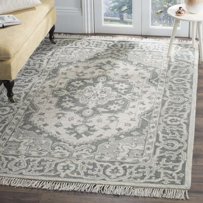Carman Hand-Tufted Wool Gray Area Rug Rug Size: Round 7