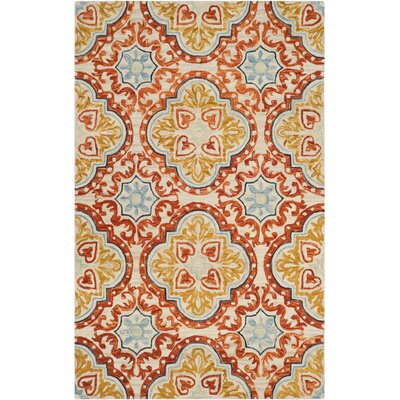 Lela Hand-Tufted Wool Beige Area Rug Rug Size: Rectangle 5 x 8