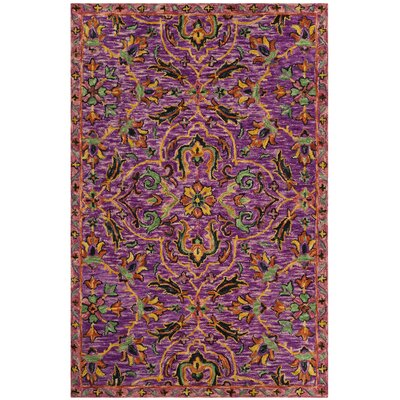 Elford Hand-Tufted Wool Purple Area Rug Rug Size: Square 6