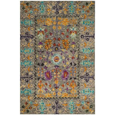 Broadmoor Hand-Tufted Wool Gray Area Rug Rug Size: Square 6
