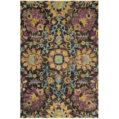 Broadmoor Hand-Tufted Wool Charcoal Area Rug Rug Size: Round 6