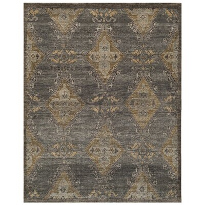 Kline Hand-Knotted Wool Charcoal Area Rug Rug Size: Rectangle 9 x 12