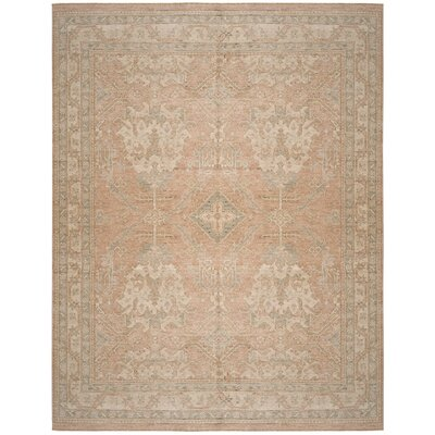Kline Hand-Knotted Peach Area Rug Rug Size: 6 x 9