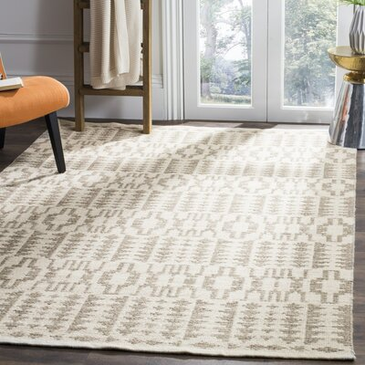 Bennett Geometric Hand-Woven Wool Ivory Area Rug Rug Size: Rectangle 5 x 8