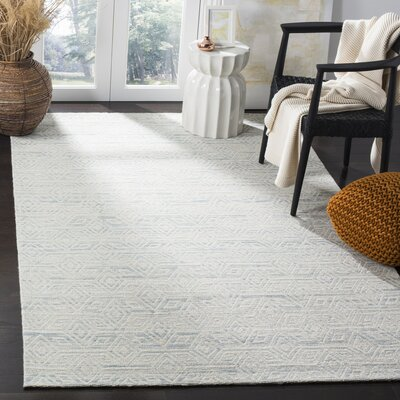 Chanelle Hand-Woven Wool Light Blue Area Rug Rug Size: Rectangle 3' x 5'