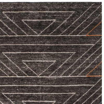 Omar Hand-Knotted Dark Brown Area Rug Rug Size: Rectangle 8 x 10