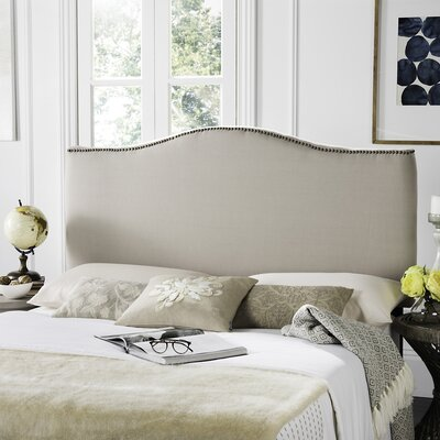 Jeneve Upholstered Panel Headboard Nailhead Finish: Brass, Upholstery: Taupe, Size: Queen