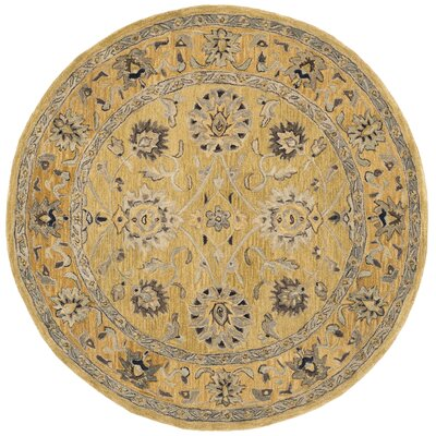 Anatolia Golden Pear/Smoke Area Rug Rug Size: Round 6
